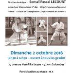 Stage avec Pascal Lecourt le 2 octobre 2016