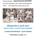 Stage avec Pascal Lecourt le 2 avril 2017