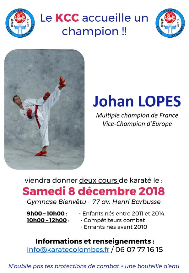 Cours karaté avec Johan Lopes