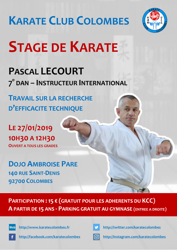 Stage Karate Pascal Lecourt 2019 01 27