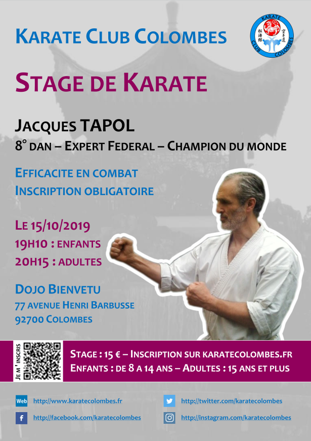 Stage Karate avec Jacques Tapol