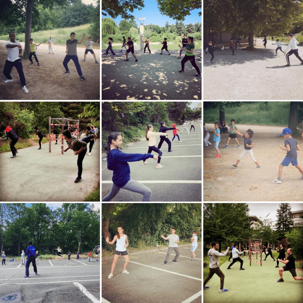 cours de karaté en plein air - karate club colombes